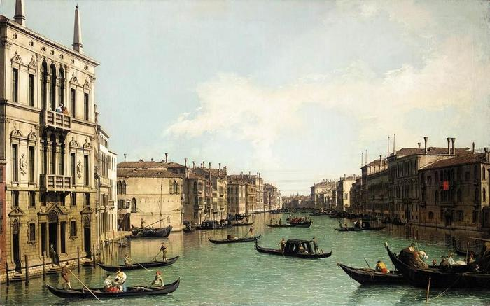 Giovanni Antonio Canal, il Canaletto - Venice - The Grand Canal, Looking North-East from Palazzo Balbi to the Rialto Bridge