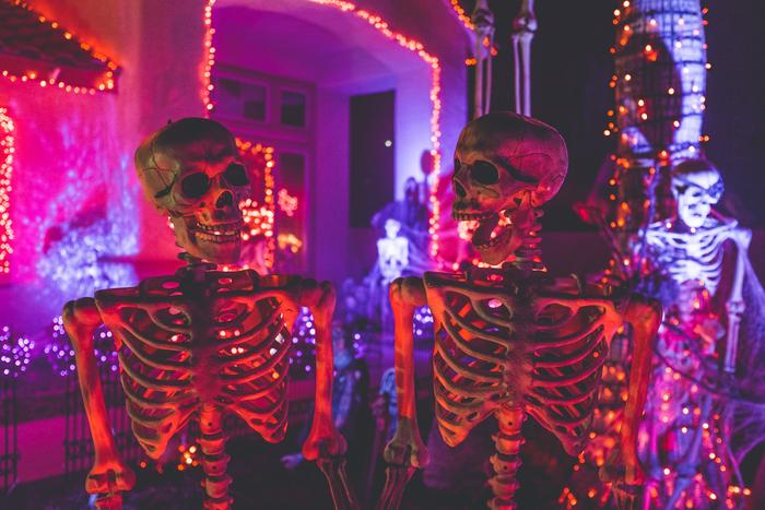 Halloween skeletons at a party