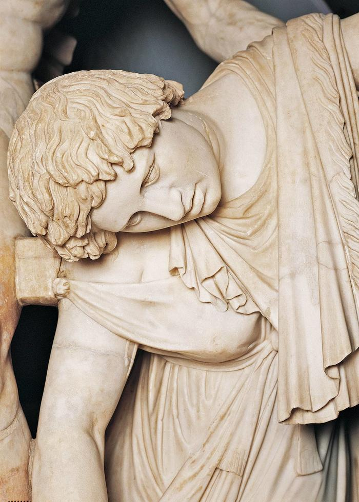 Detail from sculpture Suicide Galata in Palazzo Altemps, Rome