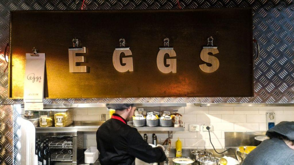 The counter of a restaurant dedicated to making egg dishes