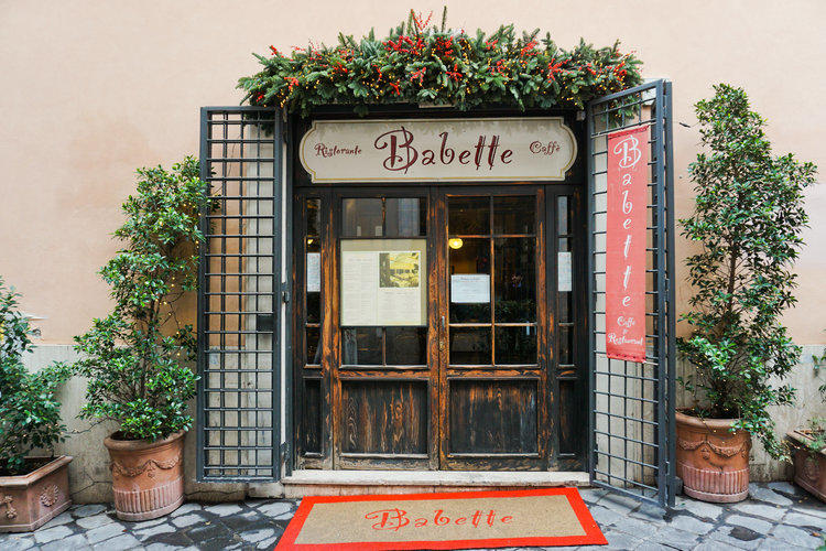 Entrance to the beautiful Babette restaurant in Rome