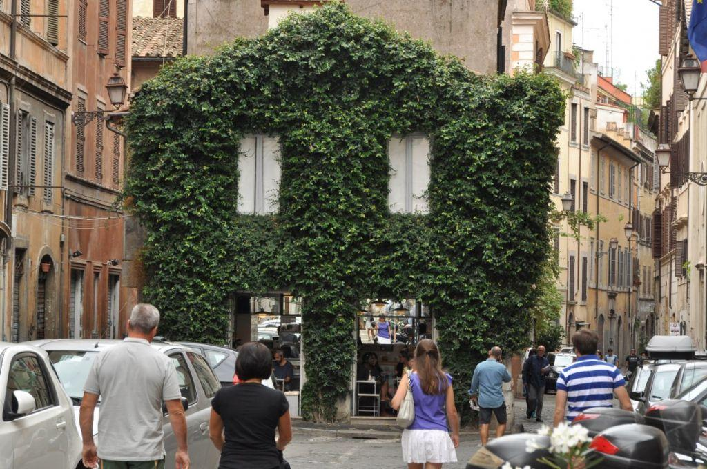 A beautiful ivy covered cafe in Monti neighborhood, Rome