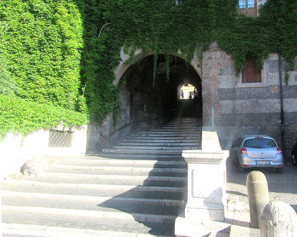 The stairs of Scalinata dei Borgi, Rome