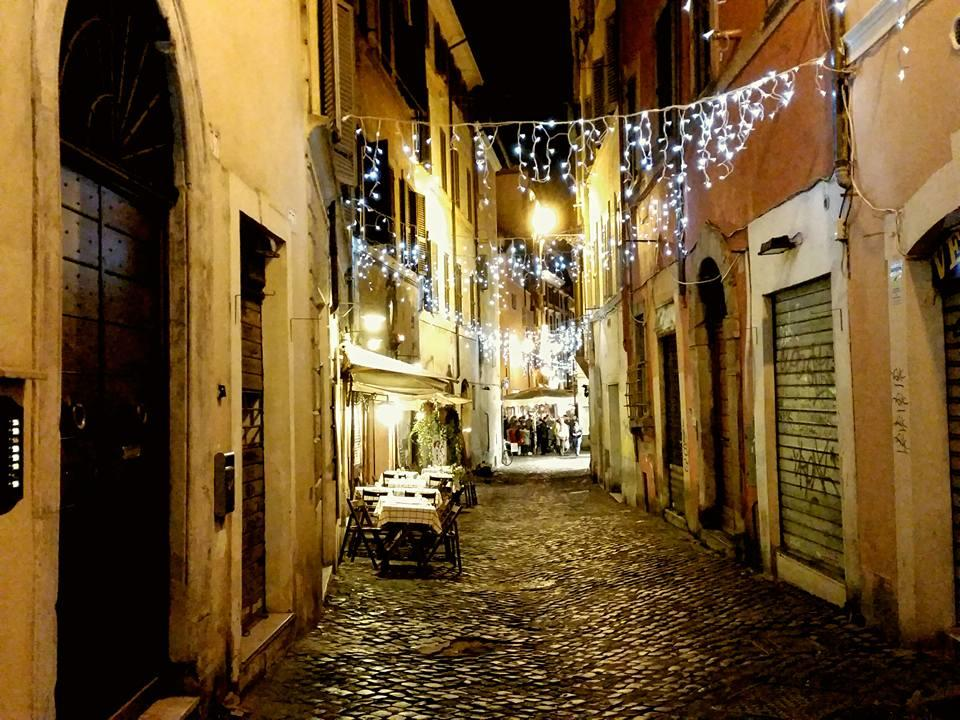 Charming and narrow cobble street of Monti, Rome