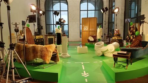 A movie set with Fendi designs at Fendi Studios in Rome