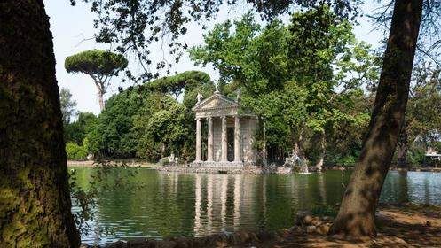 Beautiful gardens and lake of Villa Borghese in Rome