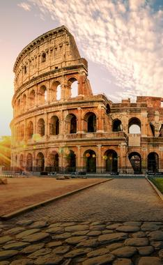 sunset over colosseum during Rome for beginners itinerary with Spotter Travel